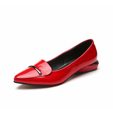 Damen Schuhe PU Sommer Herbst Komfort Loafers & Slip-Ons Spitze Zehe für Normal Schwarz Rot
