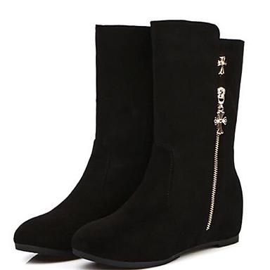 Damen Schuhe PU Herbst Winter Komfort Stiefel Für Normal Schwarz Rot