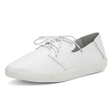 Damen Schuhe Leinwand PU Herbst Winter Komfort Flache Schuhe Für Normal Weiß Schwarz