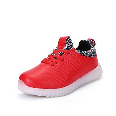 Lány cipő PU Tavasz Ősz Világító cipők Sportcipők Gyalogló LED Fűző mert Sport Fekete Piros