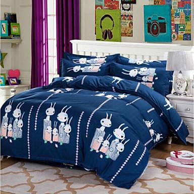 Kartoon 4 Stück Baumwolle Baumwolle 4-teilig (1 Bettbezug, 1 Bettlaken, 2 Kissenbezüge)