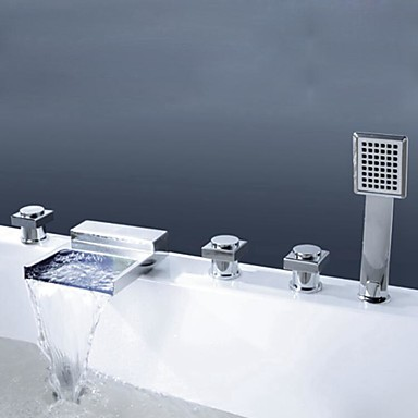 Bathtub Faucet - Contemporary / Modern Style Chrome Widespread Brass Valve / Three Handles Five Holes
