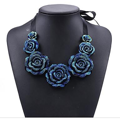 Női Luxus / Bohém Virág Strassz Kristály Nyaklánc medálok - Személyre szabott / Luxus / Bohém Circle Shape Sötétkék Nyakláncok