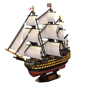 3D Puzzle Jigsaw Puzzle Warship Ship Natural Wood Unisex Gift