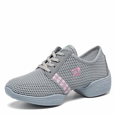 Női Tánccipők Tüll Sportcipő Szabadtéri Alacsony Dance Shoes Fehér / Fekete / Szürke