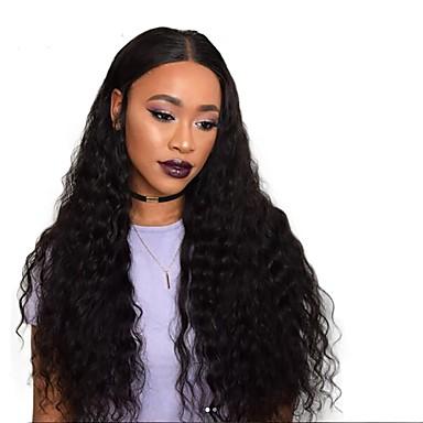 Remy haj Csipke Paróka Göndör / Hullámos 180% Sűrűség Természetes hajszálvonal / Afro-amerikai paróka / 100% kézi csomózású Közepes /