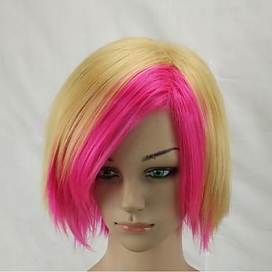 Synthetische Perücken Glatt Bubikopf Mittelscheitel Bob-Frisur mit Mittelscheitel Blond Kappenlos Cosplay Perücke Kurz Synthetische Haare
