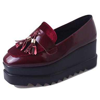 Damen Schuhe PU Sommer Komfort Loafers & Slip-Ons Walking Blockabsatz Quadratischer Zeh Quaste für Normal Schwarz Burgund