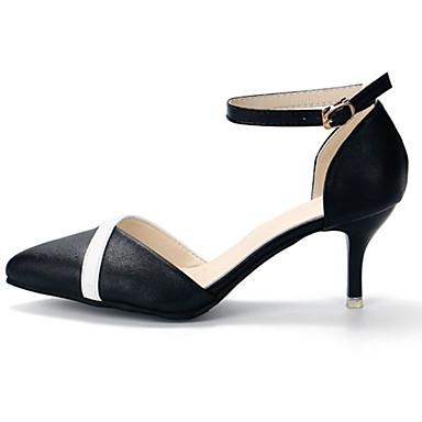 Women's Shoes PU(Polyurethane) Spring / Summer Comfort Heels Stiletto Heel Pointed Toe Buckle White / Black