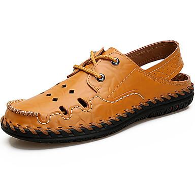 Férfi Könnyű talp Bőr Nyár Kényelmes Szandálok Vízi cipő Fekete / Sárga / Barna