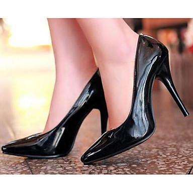 Damen Schuhe Lackleder Frühling Sommer Komfort High Heels Für Normal Weiß Schwarz Blau