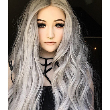 Synthetic Lace Front Wig Natural Wave Synthetic Hair Ombre Hair Gray Wig Women's Long Lace Front Grey