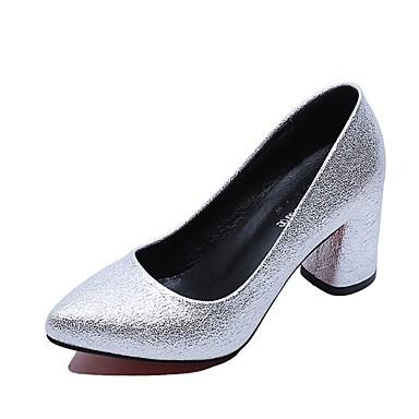 Női Cipő PU Nyár Könnyű talpak Magassarkúak blokk Heel Erősített lábujj mert Ruha Arany Fekete Ezüst