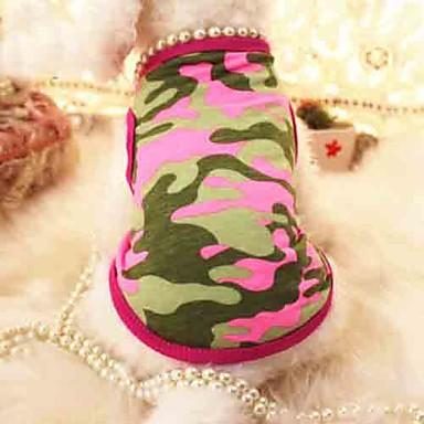 Кошка Собака Футболка Одежда для собак камуфляж Жемчуг Розовый Зеленый Хлопок Костюм Для домашних животных Лето Косплей Свадьба