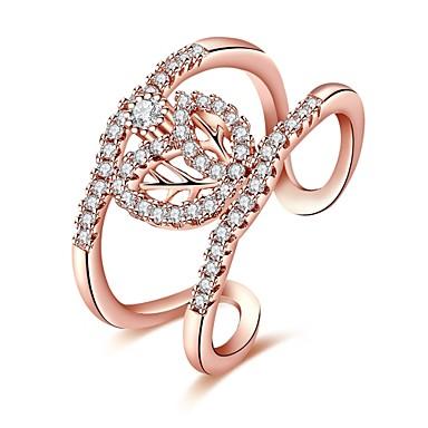 Női Luxus / Bohém / Hipoallergén Kocka cirkónia Cirkonium / Ezüstözött Band Ring - Geometric Shape / Szabálytalan Személyre szabott /