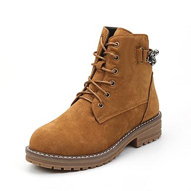 Damen Schuhe Nubukleder Winter Herbst Komfort Springerstiefel Stiefel Walking Blockabsatz Runde Zehe Schnürsenkel für Normal Schwarz Gelb