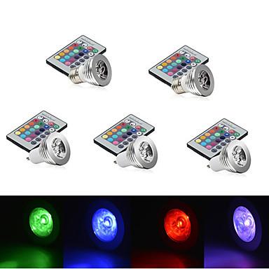 abordables Ampoules électriques-YWXLIGHT® 5pcs 2.5 W 250 lm E14 GU10 E26 / E27 1 Perles LED LED Haute Puissance Intensité Réglable Commandée à Distance Décorative RVB 85-265 V / 5 pièces / RoHs
