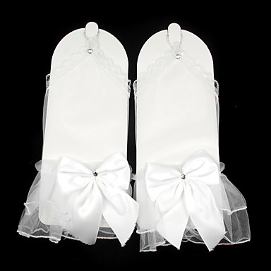 Net Wrist Length Glove Transparent / Mesh / Bridal Gloves With Bowknot