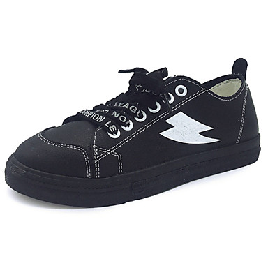 Damen Schuhe PU Frühling / Herbst Komfort Flache Schuhe Flacher Absatz Runde Zehe Schnürsenkel Weiß / Schwarz