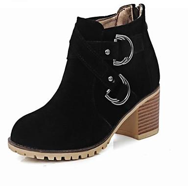 Damen Schuhe PU Herbst Winter Komfort Stiefel Blockabsatz Runde Zehe Für Normal Schwarz Beige Rot