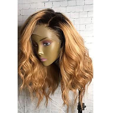Emberi haj Csipke Paróka Természetes hullám 130% Sűrűség 100% kézi csomózású Afro-amerikai paróka Természetes hajszálvonal Ombre haj