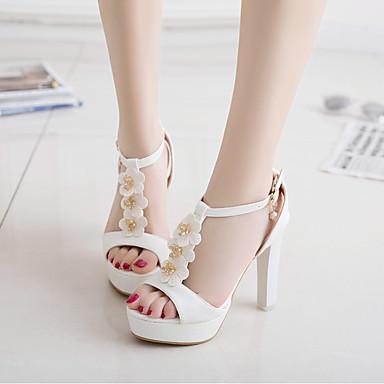 Damen Schuhe PU Sommer Komfort High Heels Blockabsatz Peep Toe Für Normal Weiß Beige Rosa