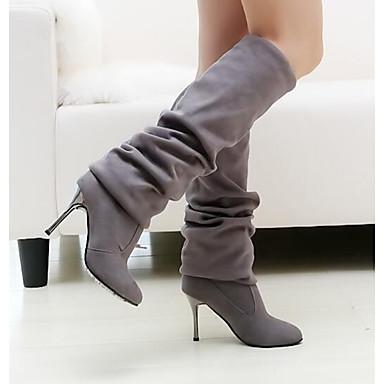 Damen Schuhe Echtes Leder PU Winter Komfort Pumps Modische Stiefel Stiefel Für Normal Schwarz Grau Braun