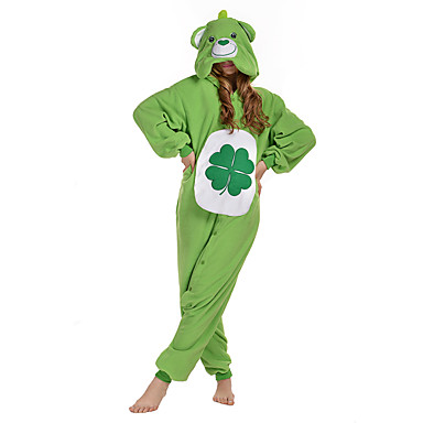 Kigurumi-Pyjamas Bär Pyjamas-Einteiler Kostüm Polar-Fleece Grün Cosplay Für Erwachsene Tiernachtwäsche Karikatur Halloween Fest /