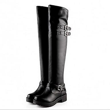 Damen Schuhe PU Herbst / Winter Modische Stiefel / Komfort Stiefel für Schwarz