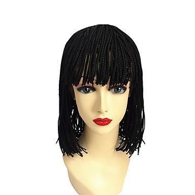 Synthetic Wig Bob Haircut Synthetic Hair 100% kanekalon hair / African American Wig / Braided Wig Black Wig Short / Medium Length Capless Natural Black