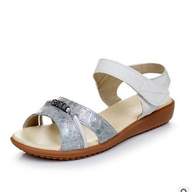 Damen Schuhe PU Sommer Komfort Sandalen Für Normal Schwarz Silber