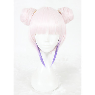 Synthetic Wig / Cosplay & Costume Wigs Straight Pink Synthetic Hair Faux Locs Wig Pink Wig Short Capless