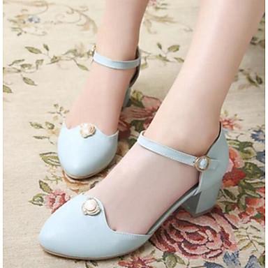 Damen Schuhe Nubukleder PU Frühling Sommer Komfort High Heels Für Normal Beige Blau Rosa