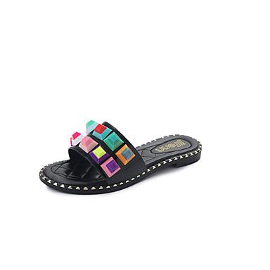 Damen Sandalen Komfort Leuchtende Sohlen PU Frühling Sommer Normal Kleid Mit Besatz Flacher Absatz Weiß Schwarz Unter 2,5 cm