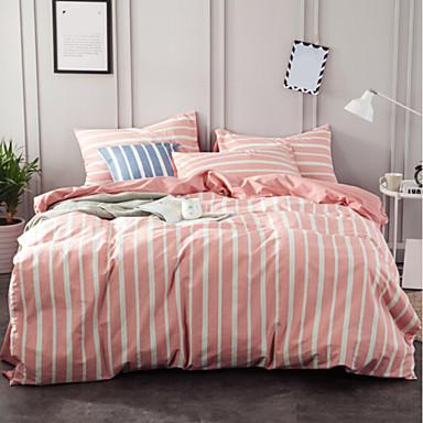 Streifen 4 Stück Polyester / Baumwolle Polyester / Baumwolle 4-teilig (1 Bettbezug, 1 Bettlaken, 2 Kissenbezüge)