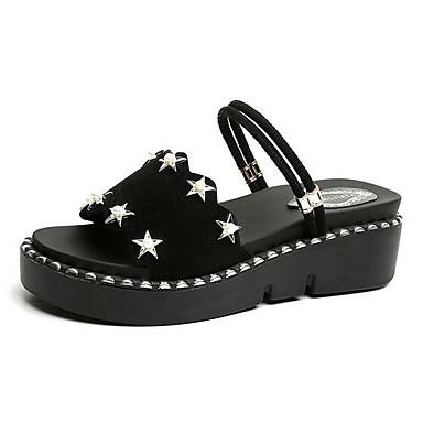 Damen Schuhe PU Frühling Sommer Komfort Sandalen Für Normal Weiß Schwarz Khaki