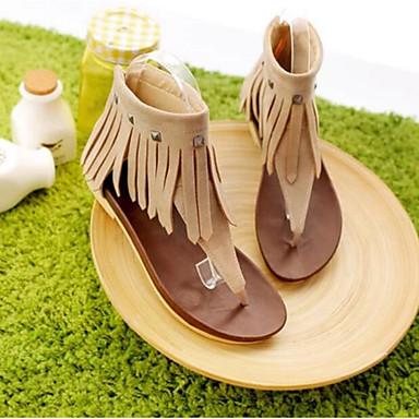 Damen Schuhe PU Sommer Komfort Sandalen Für Normal Beige Gelb