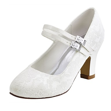 Women's Shoes Stretch Satin Spring / Fall Basic Pump Wedding Shoes Chunky Heel Round Toe Crystal White / Ivory / Party & Evening
