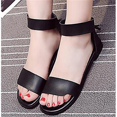Damen Schuhe PU Sommer Komfort Sandalen Für Normal Weiß Schwarz Silber
