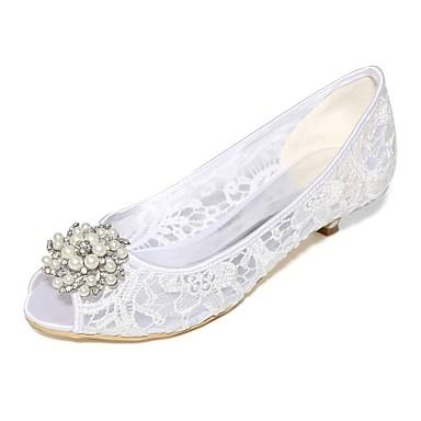b92a796f74 Women's Lace / Net Spring / Summer Basic Pump Wedding Shoes Cone Heel Peep  Toe Rhinestone / Pearl Black / Pink / Ivory / Party & Evening