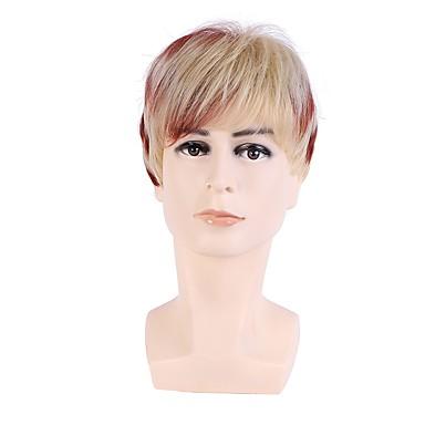 للرجال الاصطناعية الباروكات قصير مستقيم فو لوس الباروكة شعر Ombre بأطياف الألوان شعر مستعار طبيعي باروكة مخصصة