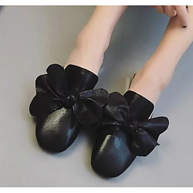 Damen Flache Schuhe Komfort Frühling PU Normal Schwarz Silber Flach
