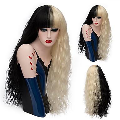 Synthetische Perücken Locken Damen Kappenlos Natürliche Perücke Lang Synthetische Haare