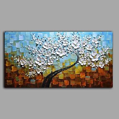 Hang-Ölgemälde Handgemalte - Blumenmuster / Botanisch Abstrakt Segeltuch / Gestreckte Leinwand