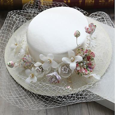 Edelstein & Kristall Tüll Chiffon Künstliche Perle Stoff Seide Netz Fascinatoren Hüte Kopfbedeckung with Kristall Feder 1 Hochzeit