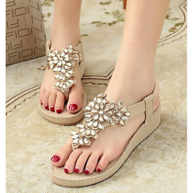 Damen Schuhe PU Sommer Komfort Hausschuhe & Flip-Flops Sandalen Für Normal Purpur Hellblau Mandelfarben