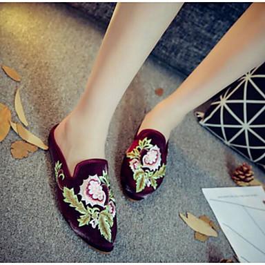 Damen Schuhe Stoff Sommer Komfort Slippers & Flip-Flops Für Normal Schwarz Beige Rot