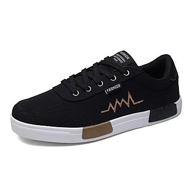 Herren Schuhe Leinwand Sommer Herbst Komfort Sneakers Schnürsenkel Für Normal Grau Schwarz und Gold Schwarz/weiss