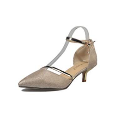 Damen Schuhe PU Sommer Komfort High Heels Walking Niedriger Heel Spitze Zehe für Normal Gold Silber