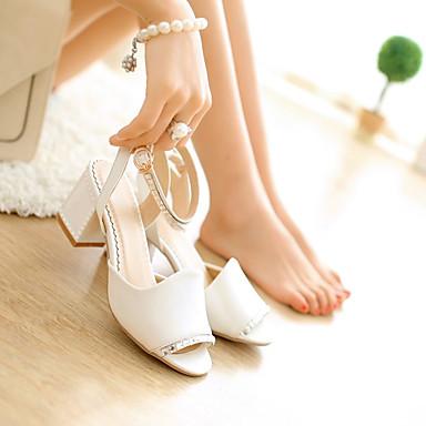 Damen Schuhe PU Sommer Herbst Komfort Sandalen Blockabsatz Peep Toe für Normal Weiß Blau Leicht Rosa